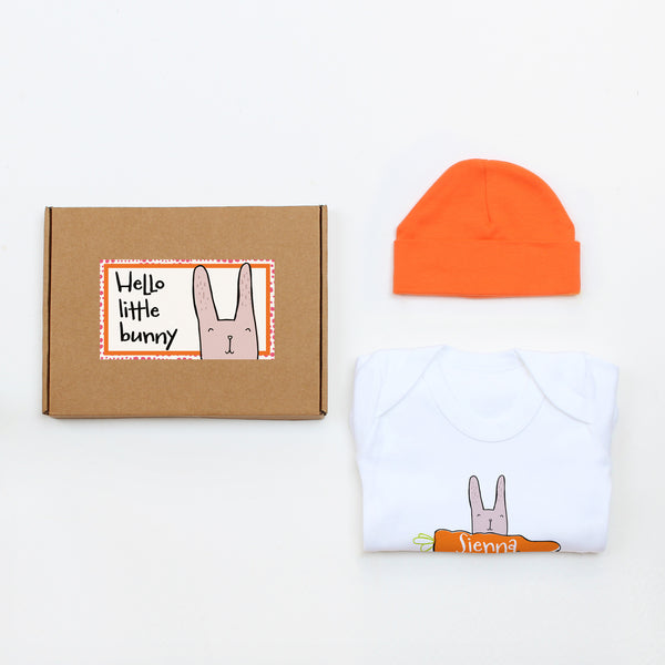 Hello Little Bunny Baby Hat & Bodysuit Gift Set