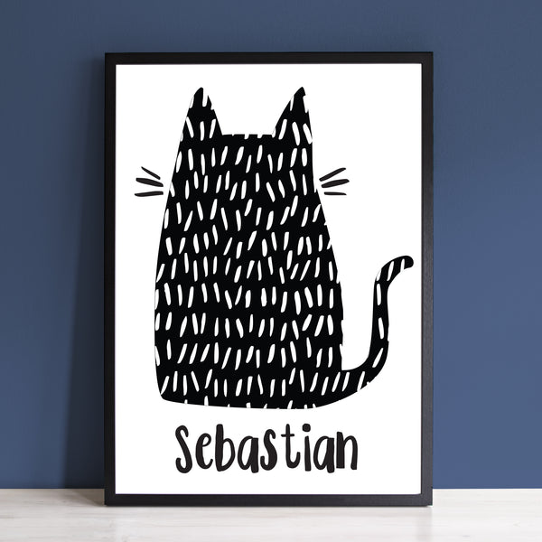 Personalised Monochrome Cat Print