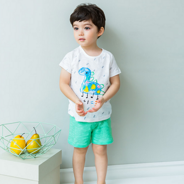 Crayon Dinosaur Drawing Tee & Shorts Pyjamas