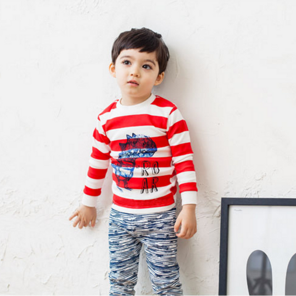 Dinosaur Roar Striped Long Sleeve Pyjamas