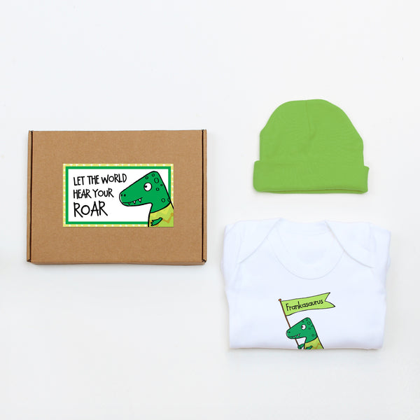 Green Dinosaur Personliased Baby Gift Set