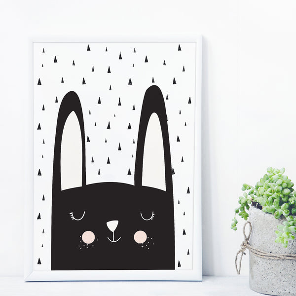 Dreaming Bunny Monochrome Print