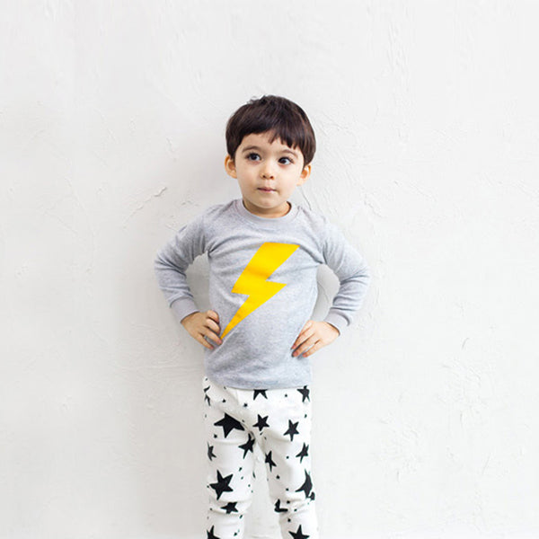 Lightning And Stars Long Sleeves kids Pyjamas