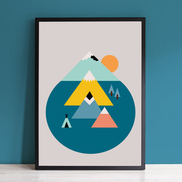Mountains and Sun Art Print