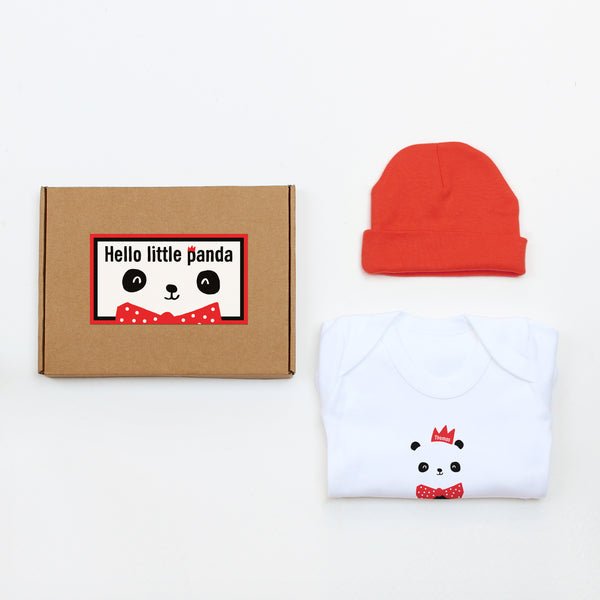 Hello Little Panda Hat & Bodysuit Baby Gift Set