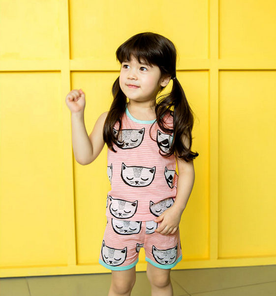 Cats Print Vest & Shorts Pyjamas