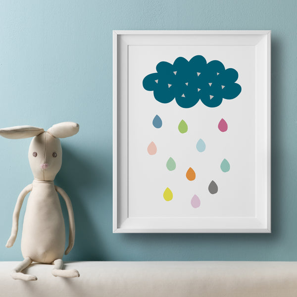 Cloud And Colourful Rain Drops Art Print