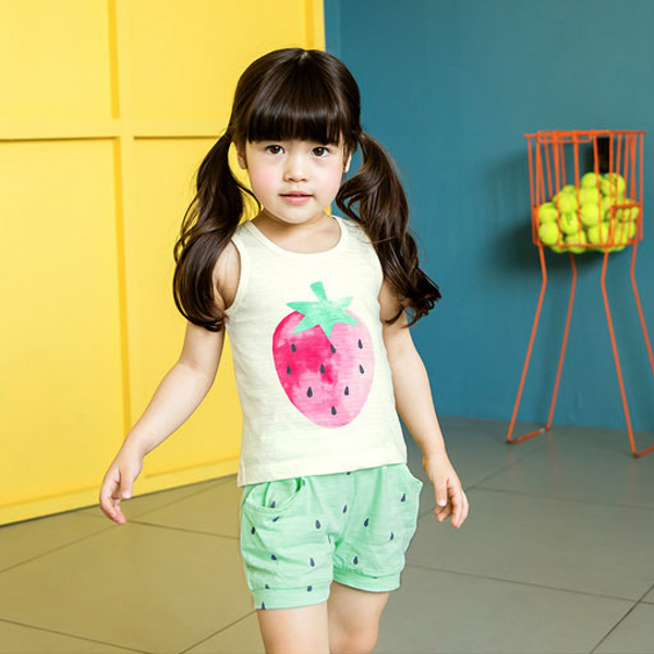 Strawberry Vest & Shorts Kids Pyjamas