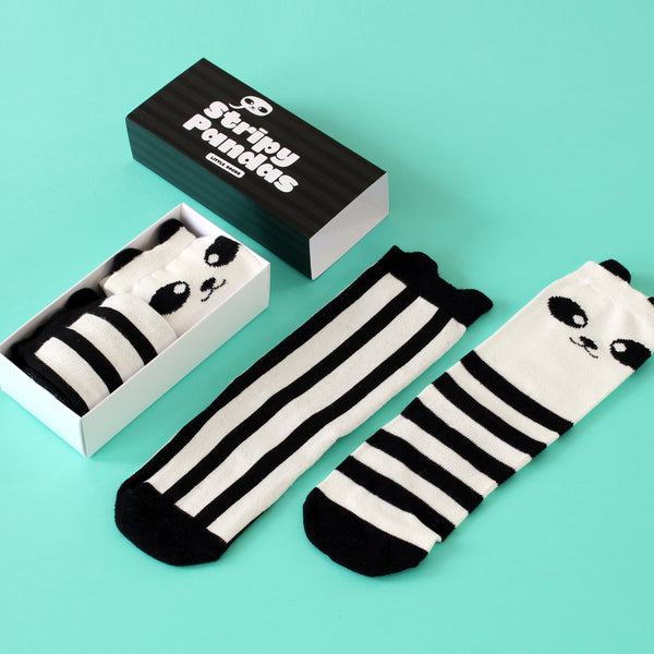 Stripy Pandas Kids Knee High Socks Gift Box