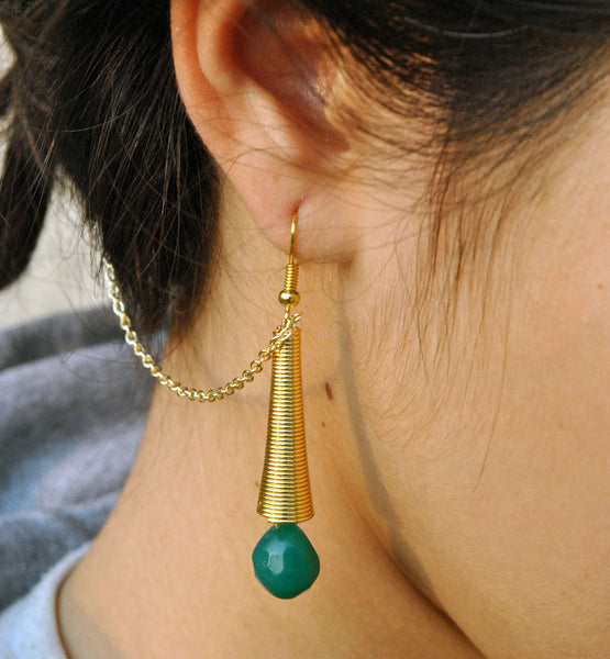 Green Dangling Earring with hair Chain (ACE001)