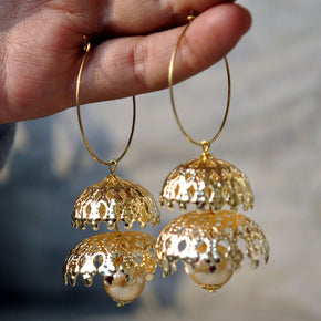 Double Decker Golden Hoops Earrings (ACE002)