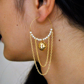 Multi layered chain and pearl Earrings (ACE004)