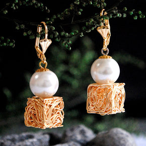 Golden Ice Cubes Earrings (ACE042)
