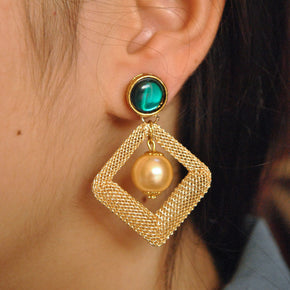 Kundan Kite Mesh Earrings (ACE080)