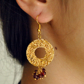 Golden Alloy Mesh With Glass Beads Earrings (ACE094)