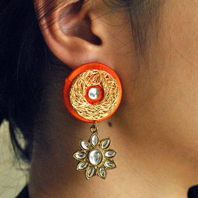 Kundan Silk Mesh Earrings (ACE098)