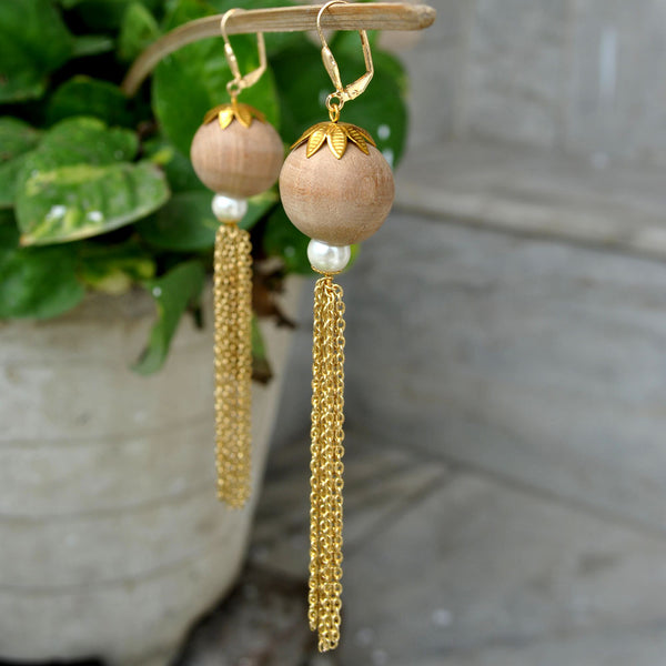 Wooden Danglers Long Earrings (ACE119)