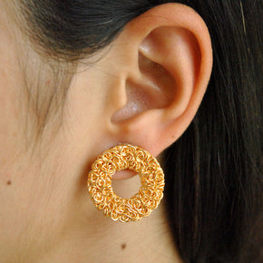 Golden Circular Mesh Earrings (ACE120)
