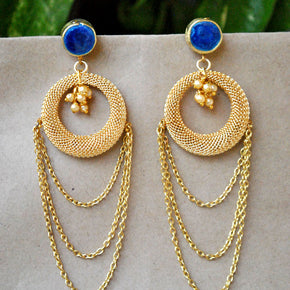 Blue Bells Long Dangling Earrings (ACE150)