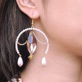 Wine Crystal Beaded Inverted Hoop Earrings (ACE162)