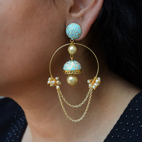 Turquoise Inverted Hoops Earrings (ACE166)