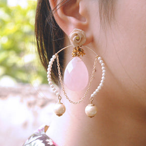 Rose Quartz Inverted Hoops Earrings (ACE167)