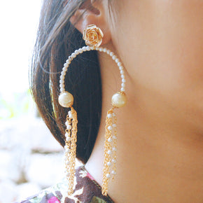 Pearly Inverted Hoops Earrings (ACE168)