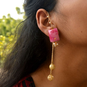 Pink Marble Kundan Kanauti Earrings (ACE177)