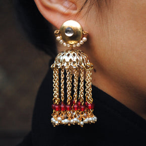 Golden Crescent Jhumki Earrings (ACE189)