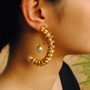 Floral Crescent Hoop Earrings(ACE192)