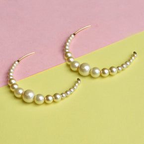 Peppy Pearl Half Hoop Earrings (ACE211)