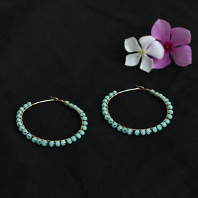 Blue Beaded Hoop Earrings (ACE216)