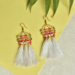 White Misty Tassel Earrings (ACE218)
