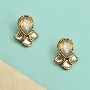 Grey Kundan Earrings (ACE226)