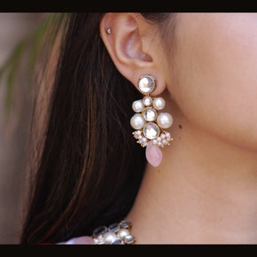 Baby Pink Glass Stone Kundan Earrings (ACE227)