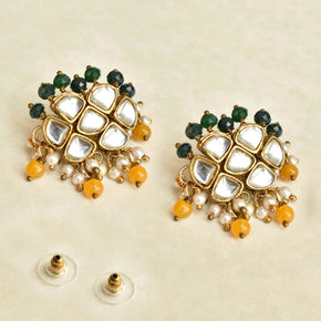 Green And Orange Beads Kundan Earrings (ACE228)