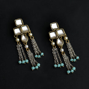 Silver Color Drop Chain & Kundan Earrings (ACE229)