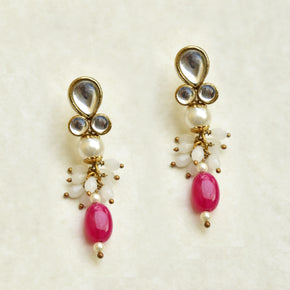 Red Stone Drop Earrings (ACE230)