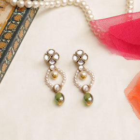 Semi Precious Glass Stones & Kundan Earrings (ACE240)