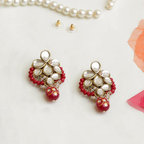 Red Crescent Kundan Earring (ACE244)