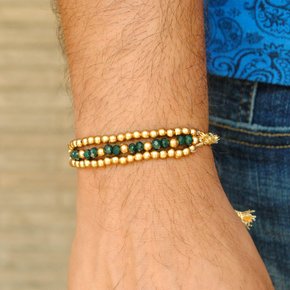 Green & Golden Beads Rakhi(ACJR007)