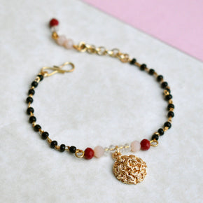 Red And Peach Embellished Mangalsutra Bracelet (ACMB004)