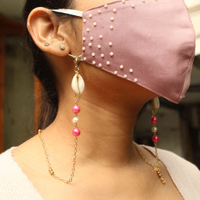 Pink Beads With Shell Mask Chain(ACMC001)