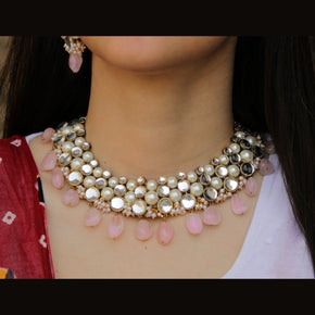 Rose Quartz Semi Precious Necklace Set (ACN035)