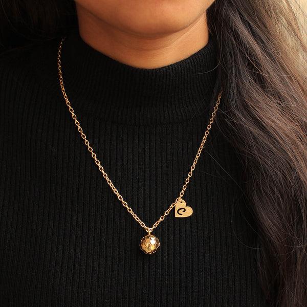 Golden Ball And Initial Necklace Bridesmaid Gift  (ACP008)