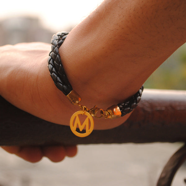 Mens Personalised Double Layer Initial Charm Leather Bracelet(ACMP002)