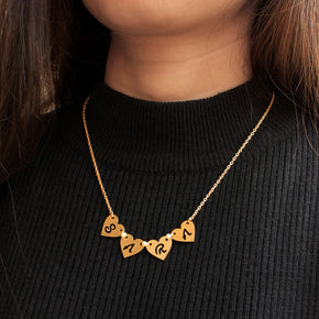 Connected Rose Gold Hearts Name Necklace(ACP018)
