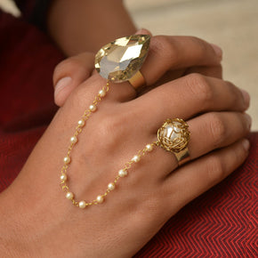 Crystal and Pearl Two Finger Ring(ACR042)