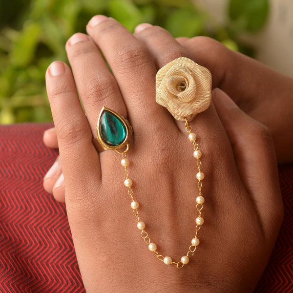 Rose And Kundan Two Finger Ring(ACR045)