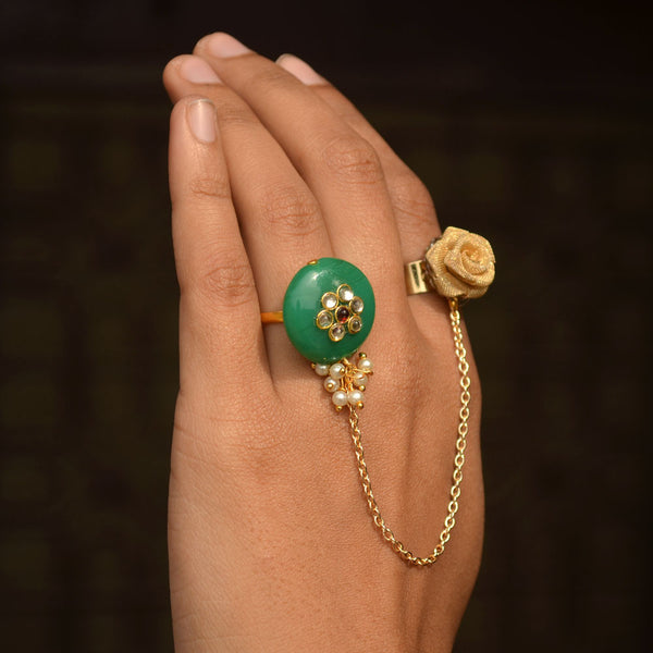 Green Bead and Rose Two Finger ring (ACR047)